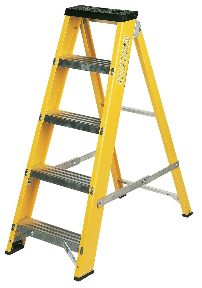 Lyte GFBB5 Swingback Builders Step Ladder Fibreglass 5-Tread