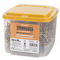 TurboGold Woodscrews Double Self Countersunk 4 x 40mm 1000 Pack