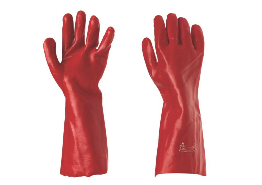 "General Handling PVC 16"" Gauntlets Red Large"