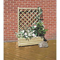 Grange Rectangular Wooden Planter Green 900 x 400 x 1375mm
