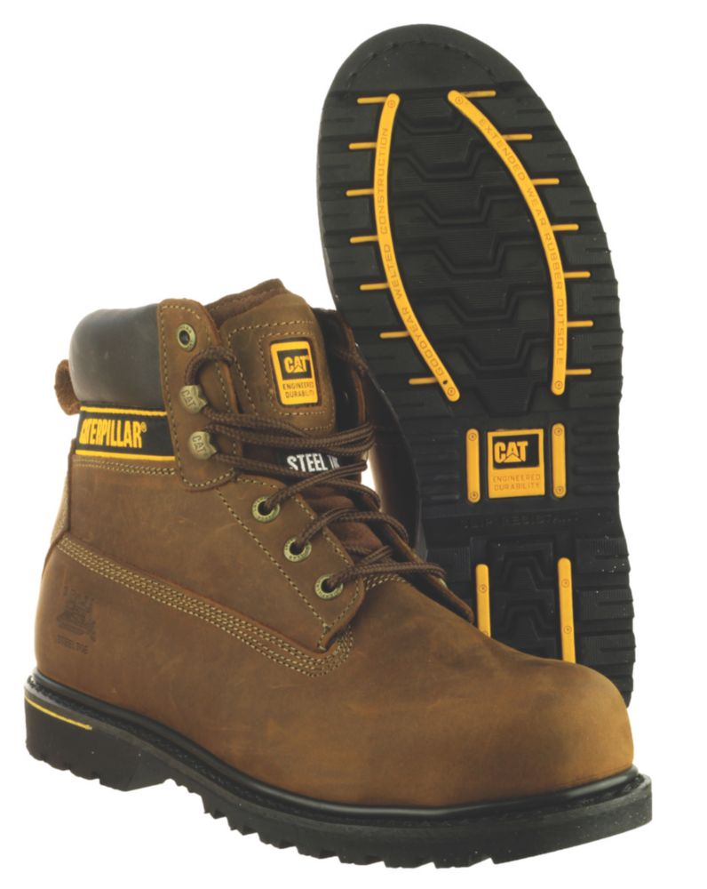 Caterpillar Holton S3 Brown Safety Boots Size 6