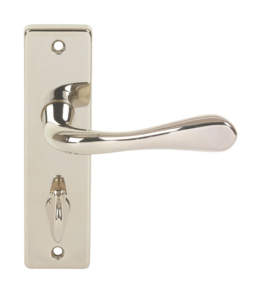 Urfic Victoria Lever on Backplate WC Door Handles Pair Polished Nickel