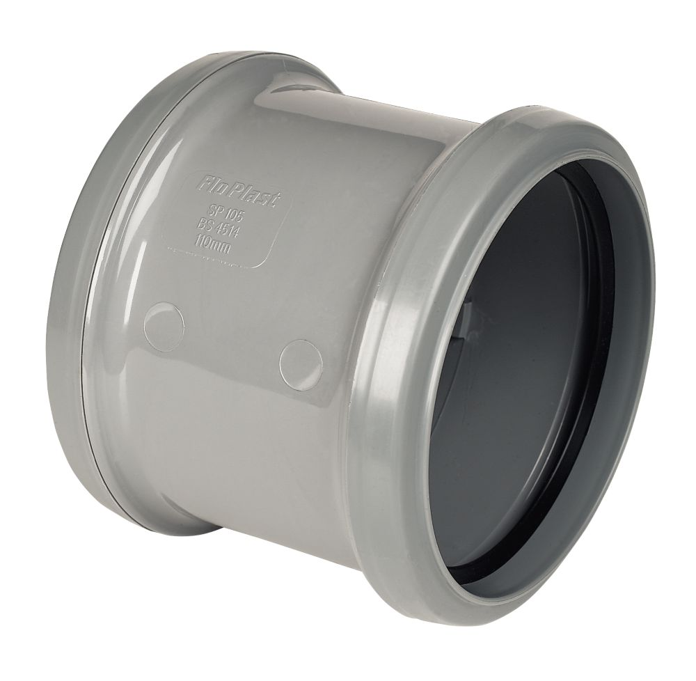 Pipe Coupler Double Socket Grey SP105
