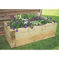 Forest Rectangular Sleeper Raised Bed Natural Wood 700 x 400 x 1300mm