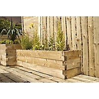 Forest Rectangular Caledonian Raised Bed Natural Wood 1800 x 450 x 450mm
