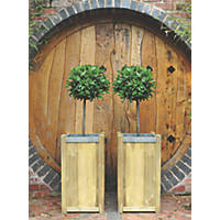 Forest Square Planter Natural Wood 400 x 400 x 750mm 2 Pack