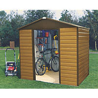 Yardmaster Sliding Door Apex Shed Woodgrain Effect 8 x 6' 2 Pack