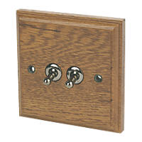 Varilight 10A SP 2-Gang 1/2-Way Toggle Switch Medium Oak