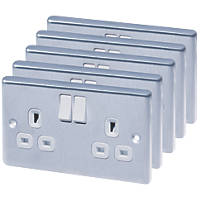 LAP 13A 2-Gang SP Switched Plug Sockets Brushed Stainless Steel Pack of 5