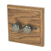 Varilight V-Pro 2-Gang 1 / 2-Way Dimmer Switch Medium Oak
