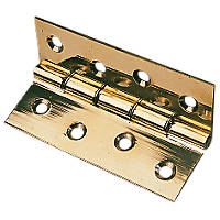 Washered Hinge Polished Brass 76 x 51mm 2 Pack