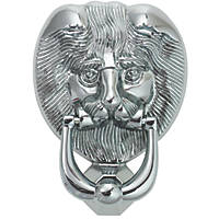 Fab & Fix Lions Head Door Knocker Hardex Chrome 98 x 136mm