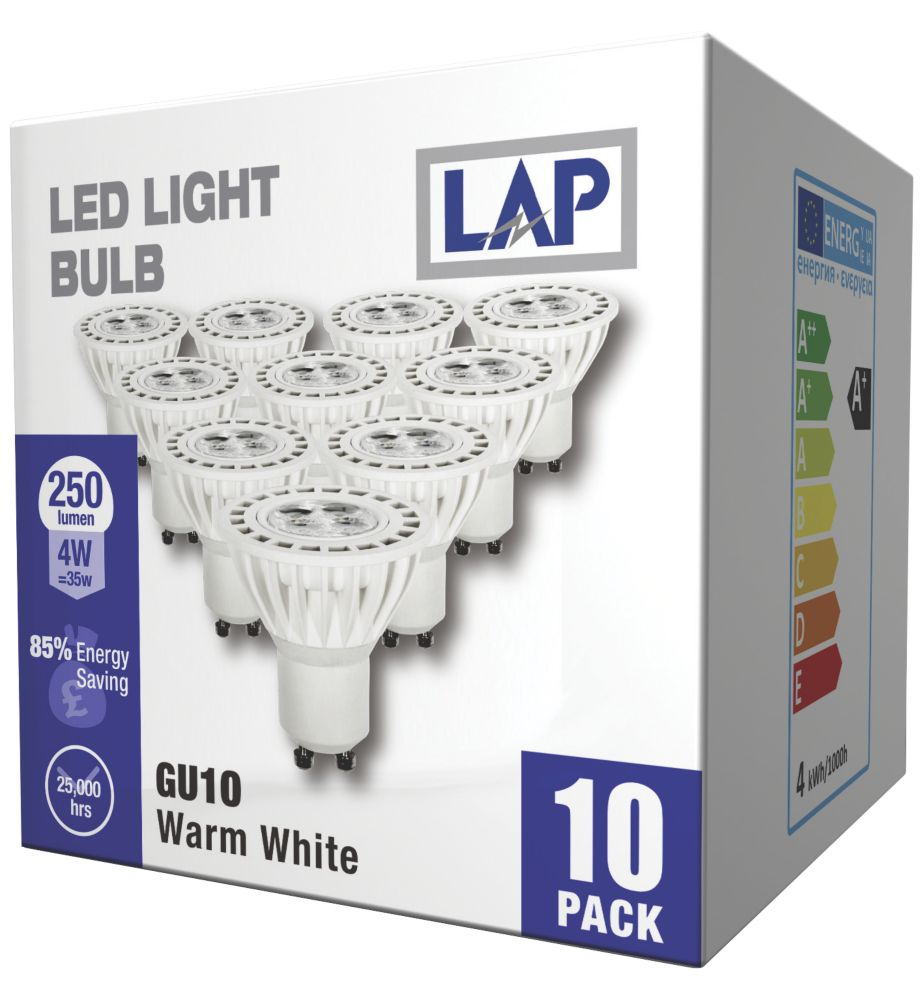 LAP GU10 LED Lamp 250Lm 4W Pack of 10