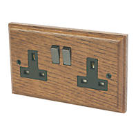 Varilight 13A DP 2-Gang Switched Socket Medium Oak