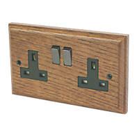 Varilight 13A DP 2-Gang Switched Socket Medium Oak
