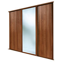 Spacepro 3 Door Sliding Wardrobe Doors Walnut / Mirror 2692 x 2260mm 3 Pack