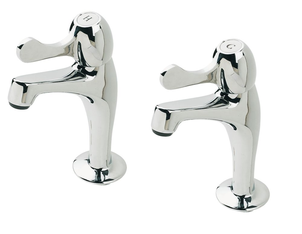H&C Lever Pillar Kitchen Taps Pair Chrome