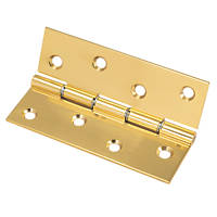 Washered Hinge Polished Brass 102 x 67mm 2 Pack