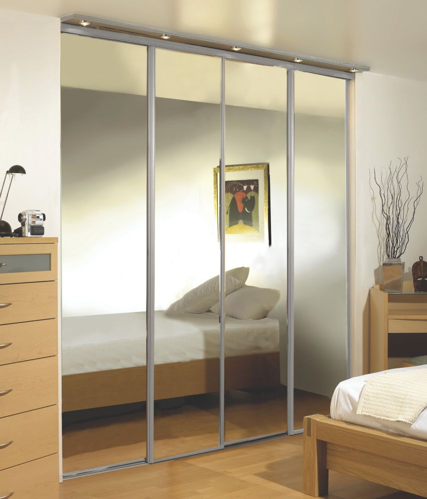 Silver Framed Wardrobe Mirror Door 3660 x 2286mm