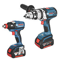 Bosch GSB 18 VE-2-LI + GDX 18 V-EC 18V 4.0Ah Li-Ion   Cordless Combi Drill & Impact Wrench Twin Pack