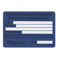 "Hayes UK ""Installed & Serviced By"" Gas Labels Pack of 10"