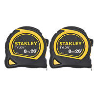 Stanley Tylon Tape Measures 8m (16') Pack of 2