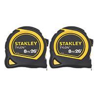 Stanley Tylon Tape Measures 8m (26') Pack of 2