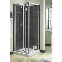 Aqualux  Square Bi-Fold Door Shower Enclosure  Silver 760 x  x 1850mm