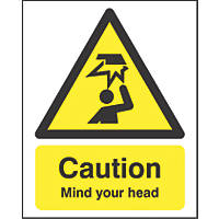 """Caution Mind Your Head"" Sign 210 x 148mm"