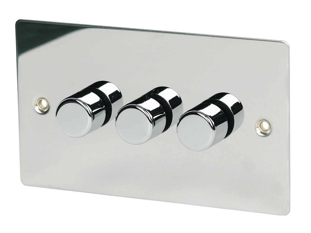 Volex 3-Gang 1-Way 250W Dimmer Polished Chrome Flat Plate