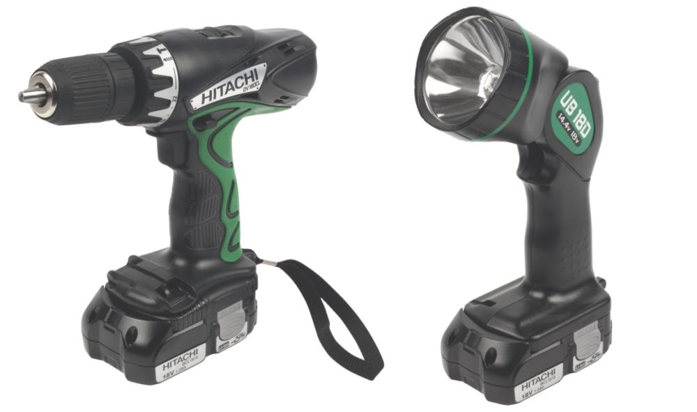 Hitachi DV18DCL/JB 18V 1.5Ah Li-Ion Combi Drill & Angle Head Torch Pack