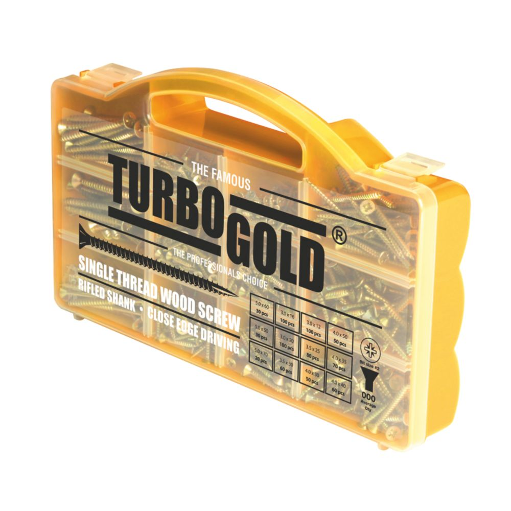 TurboGold Woodscrews Handy Case Pack of 750