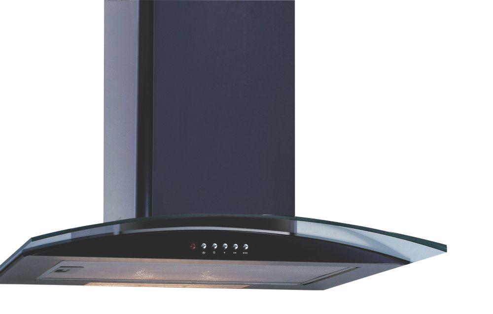 Curved Glass Chimney Cooker Hood Black 600mm