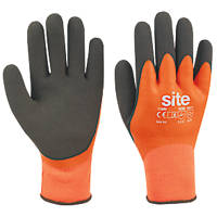 Site Hydrogrip Fully-Coated Latex Thermal Gloves Black / Orange Large