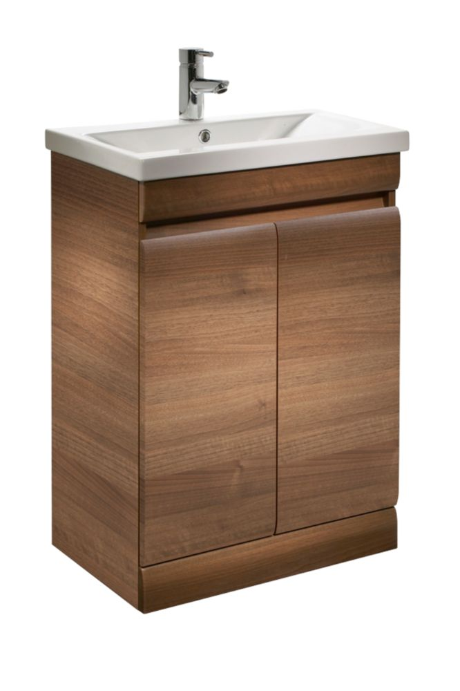 Tavistock Groove Bathroom Basin Unit Walnut 590mm