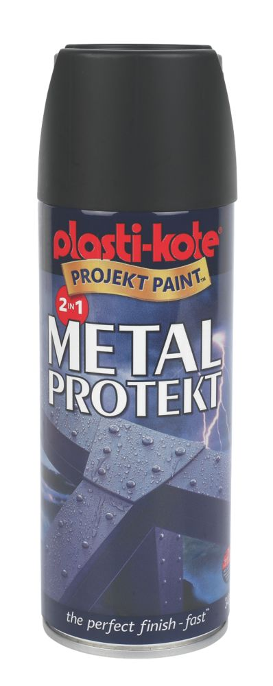 Plasti-Kote Metal Protekt Metal Protection Paint Matt Black 400ml
