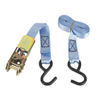 Ratchet Tie-Down Strap with Hook 3m x 25mm 2 Pcs