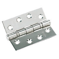 Fire Door Hinge Grade 13 Polished Stainless Steel 102 x 76mm 3 Pack