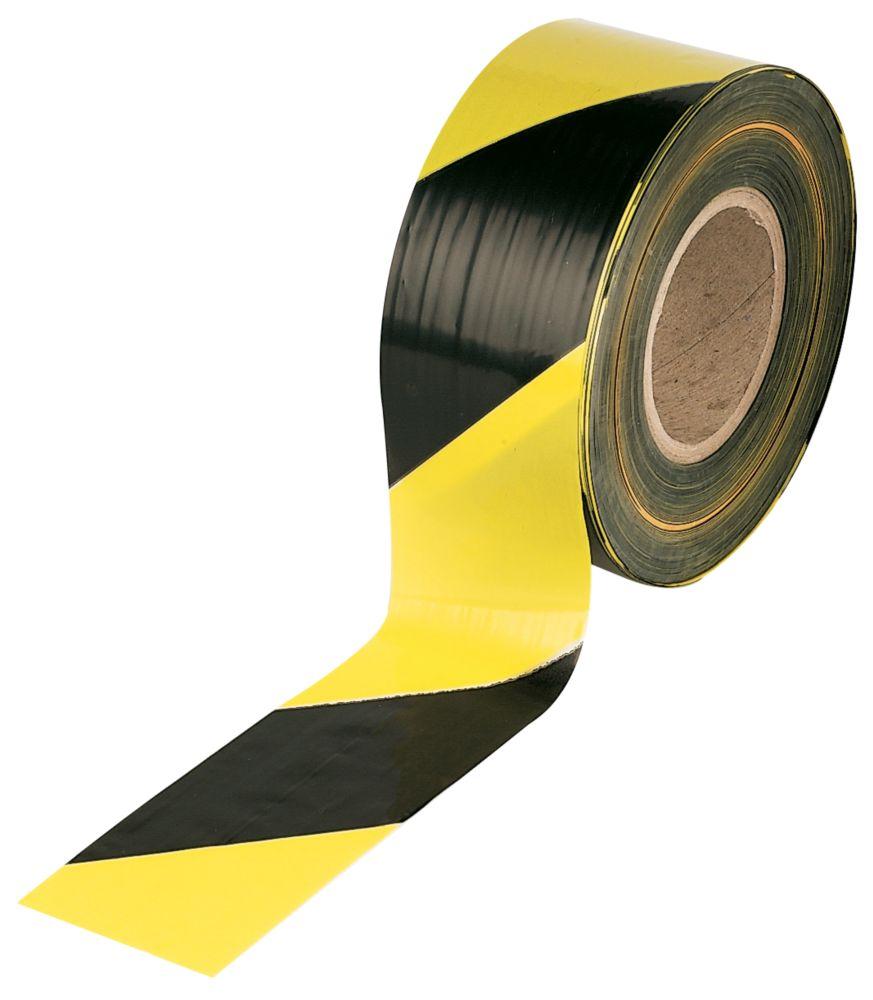 Barrier Tape Black/Yellow 75mm x 500m