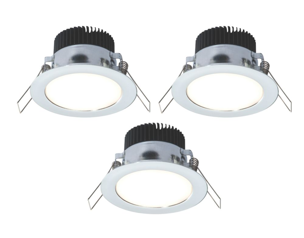 LAP Fixed Round LED Downlight Kit Polished Chrome 4.5W 240V Pack of 3