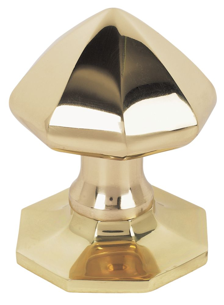 Octagonal Centre Door Knob Polished Brass 75mm