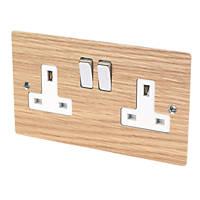 Varilight 13A DP 2-Gang Switched Socket Solo Wood Oak