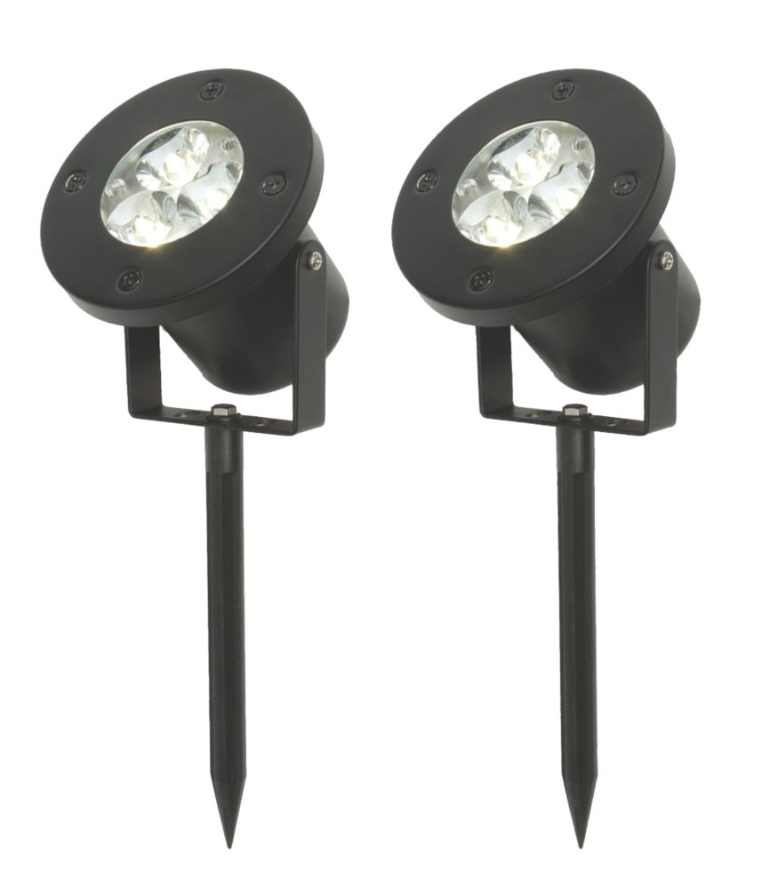 Masterlite Windsor Matt Black & White LED Spike Lights 3W 240V Pack of 2