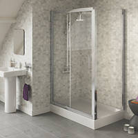 Swirl  Square Sliding Door Shower Enclosure  Silver 1200 x 800 x 1800mm