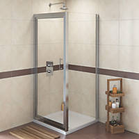 Swirl  Square Shower Enclosure  Silver 900 x 900 x 1800mm