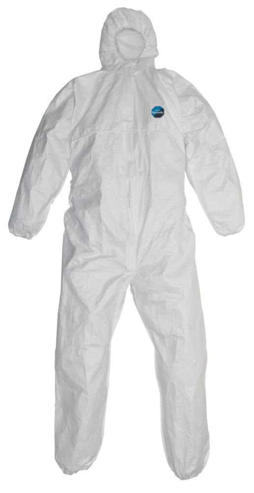 "DuPont Tyvek Classic Hooded Coverall White X Large 42-46"" Chest 31"" L"