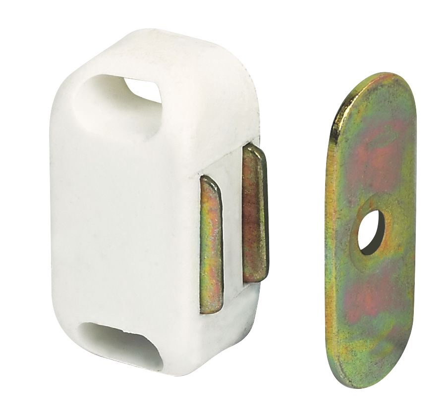 Magnetic Cabinet Catches White 32mm Pack of 10