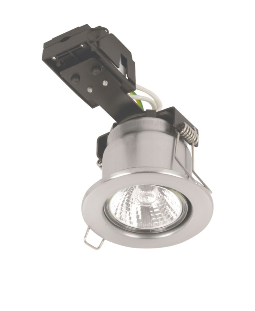 Sylvania Fixed Round Mains Volt Fire Rated Downlight Brsh. Steel 240V