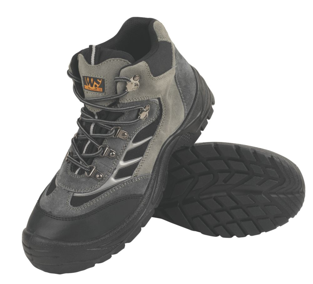 Worksite Industrial Wear Hiker Safety Boots Grey / Black Size 7