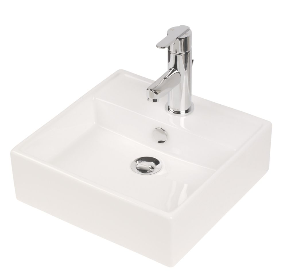 Square Wall-Mounted Bathroom Basin 1 Tap Hole 382mm